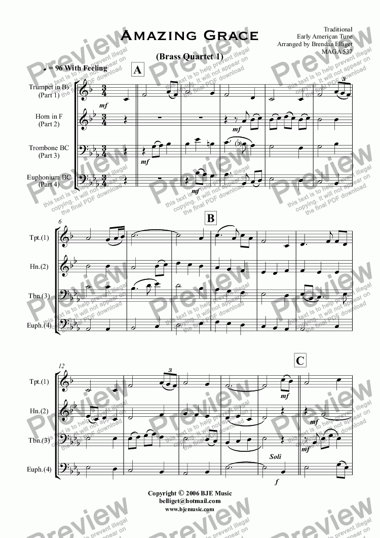 page one of Amazing Grace - Brass Quartet 1