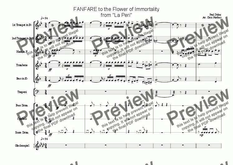 page one of Fanfare from La PeriASALTTEXT