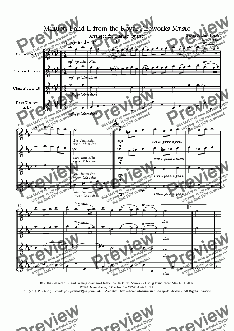 page one of Royal Fireworks Music, Minuets I & II (Clarinet Quartet)