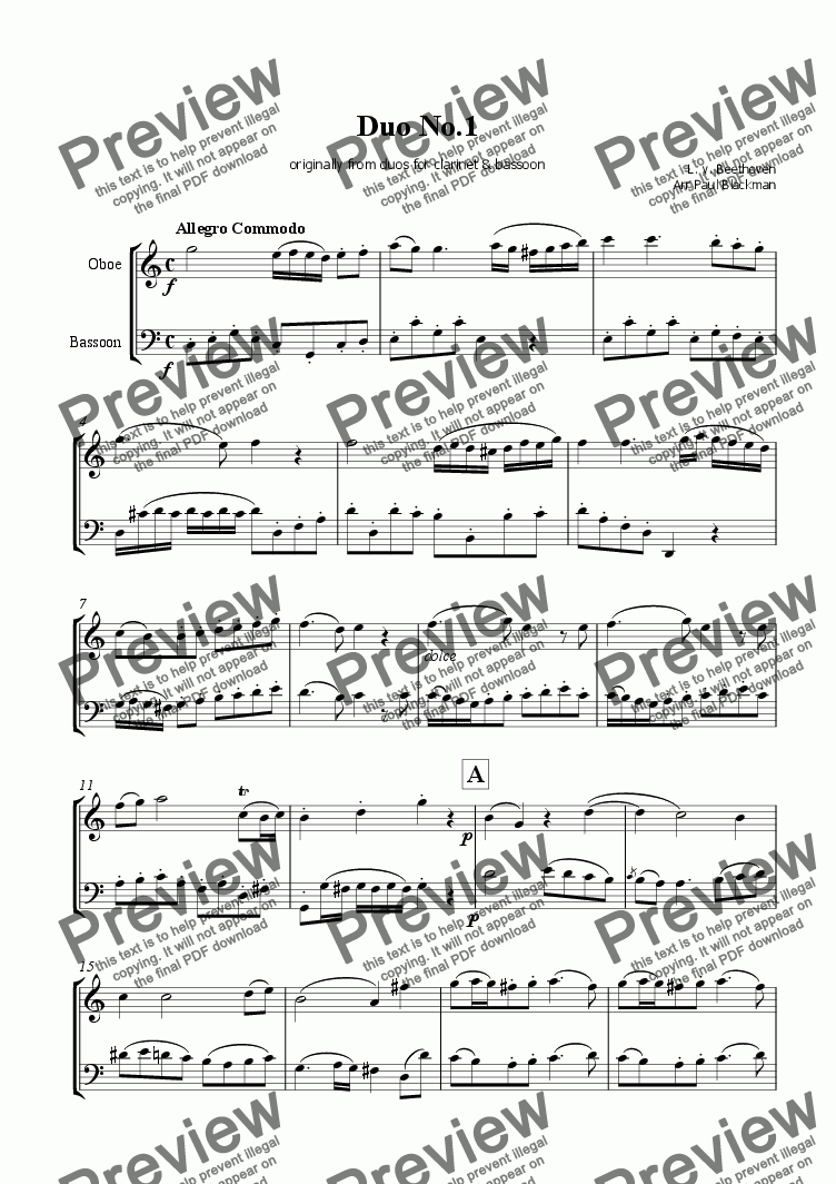 page one of Beethoven Duo no.1