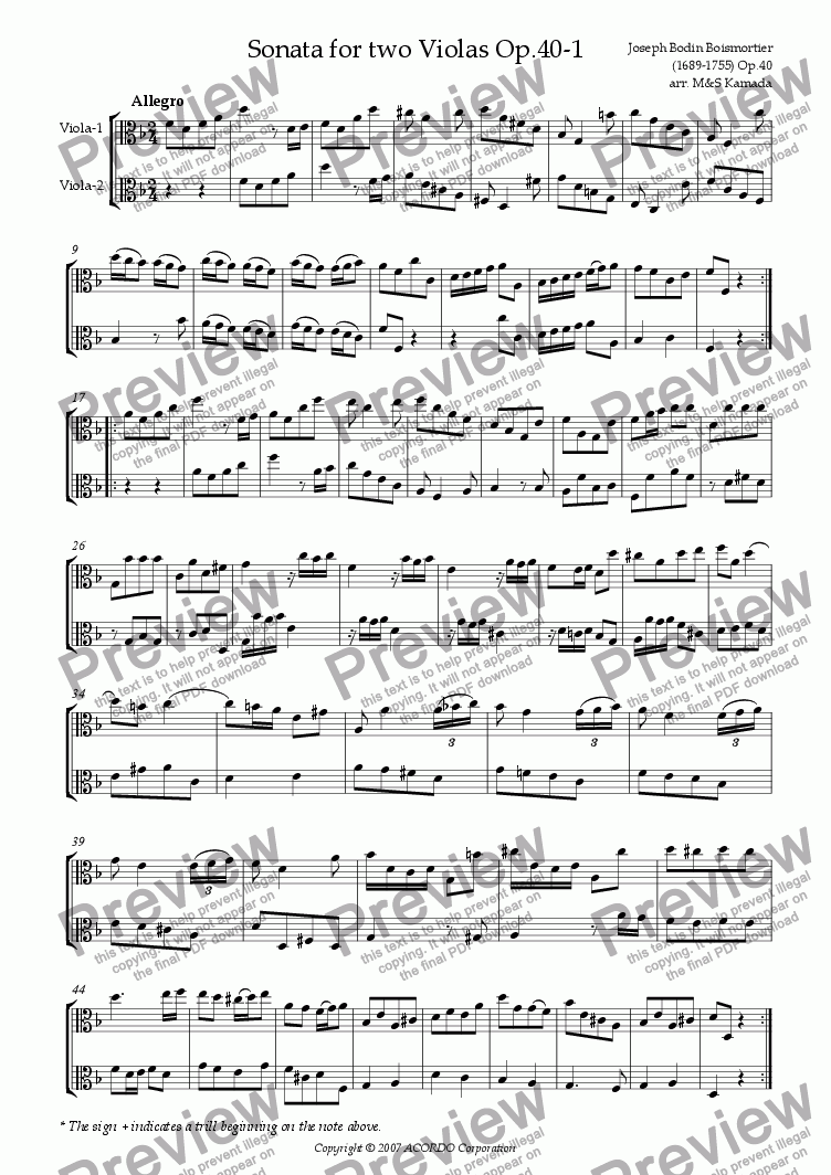 page one of Sonata (Duet) for two Violas Op.40-1