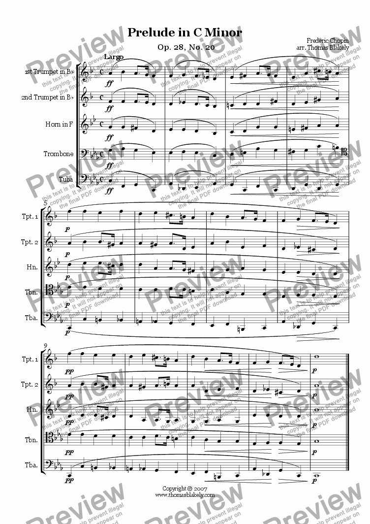 page one of Prelude in C Minor Op. 28, No. 20 for Brass Quintet