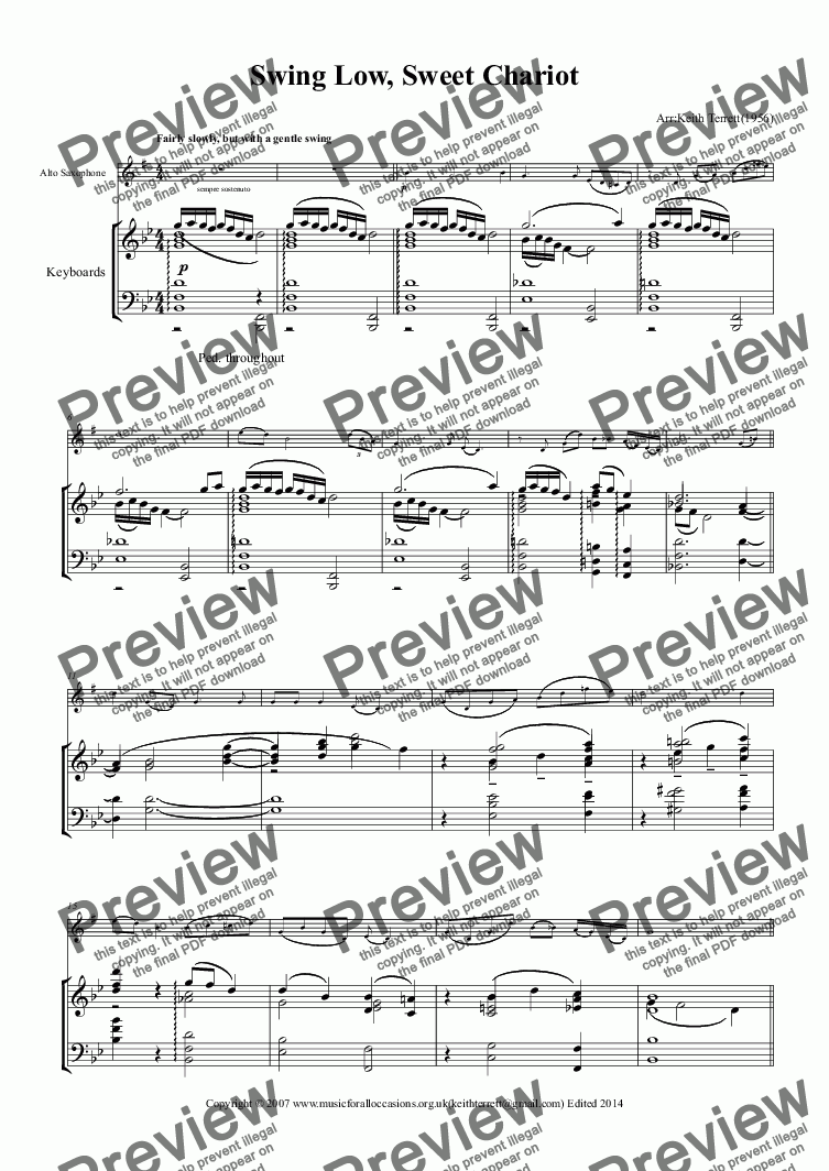 Swing Low, Sweet Chariot for Eb Alto Saxophone & Piano for Solo Alto  Saxophone + piano by Wallis Willis - Sheet Music PDF file to download