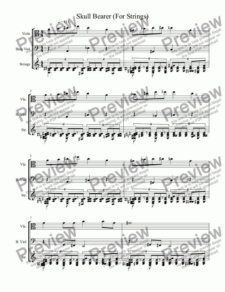 page one of Skull Bearer (For Strings)ASALTTEXT