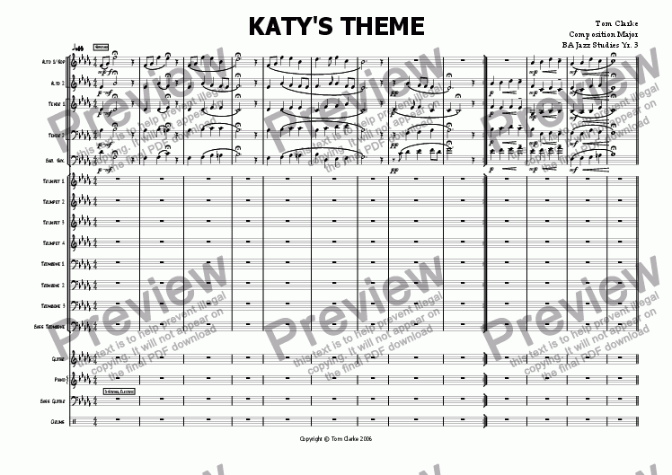 page one of Katy's Theme