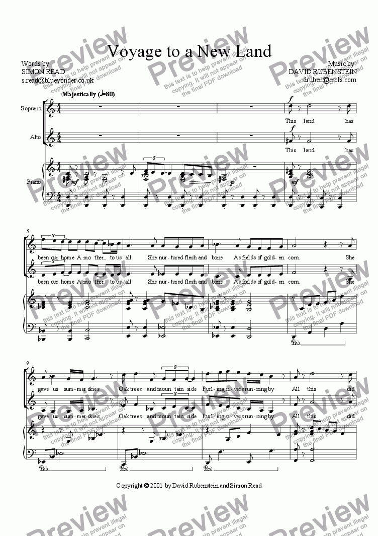 page one of Voyage to a New Land (SA & Piano)