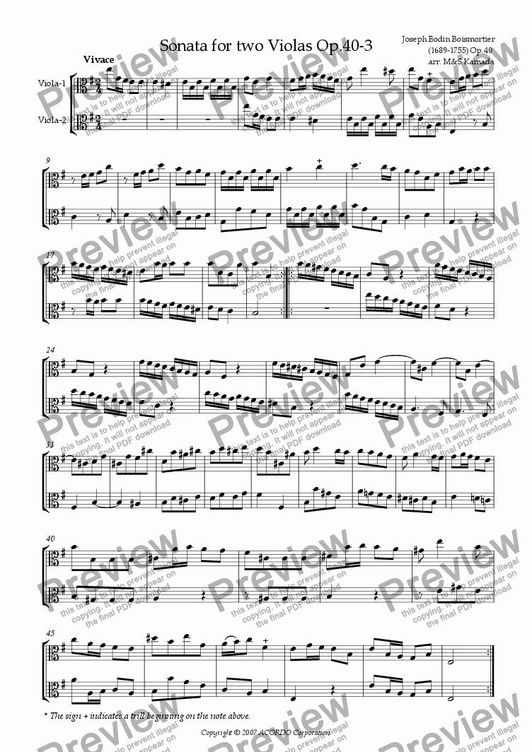 page one of Sonata (Duet) for two Violas Op.40-3ASALTTEXT