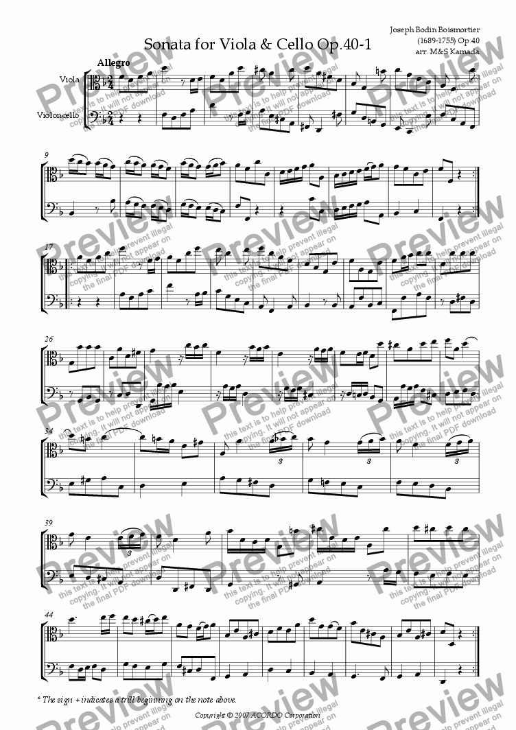 page one of Sonata (Duet) for Viola & Cello Op.40-1ASALTTEXT