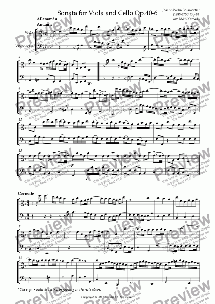 page one of Sonata (Duet) for Viola & Cello Op.40-6