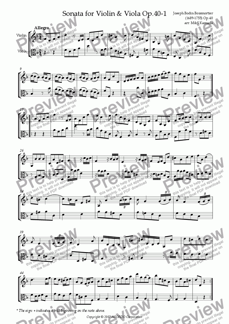 page one of Sonata (Duet) for Violin & Viola Op.40-1ASALTTEXT