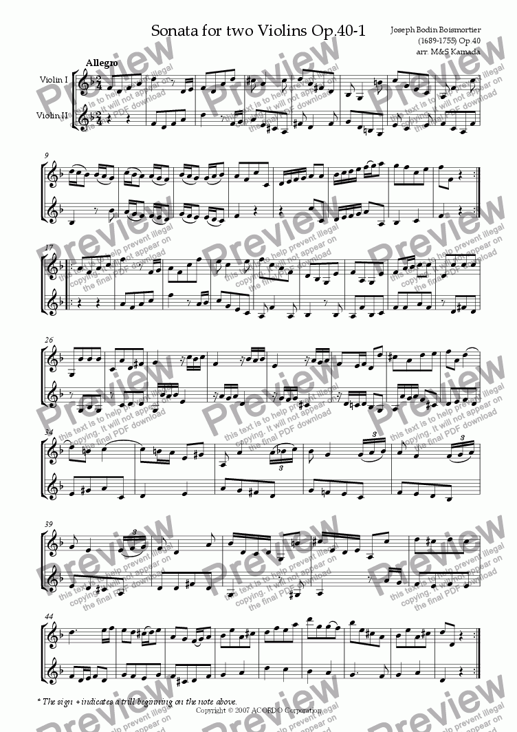 page one of Sonata (Duet) for two Violins Op.40-1