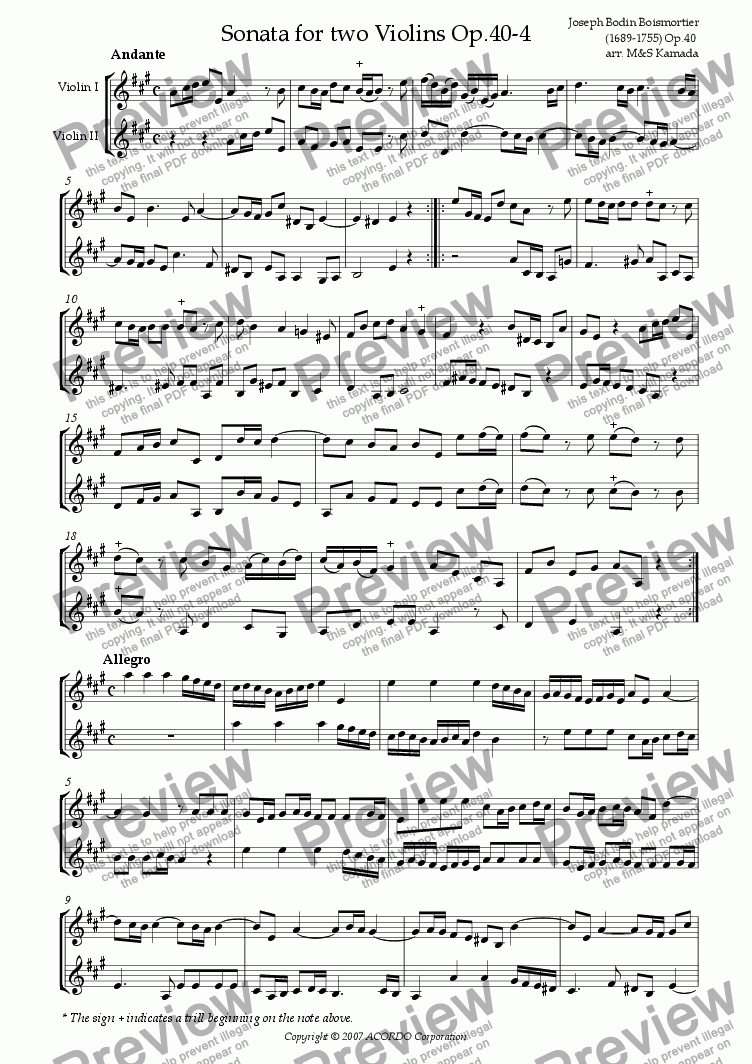page one of Sonata (Duet) for two Violins Op.40-4