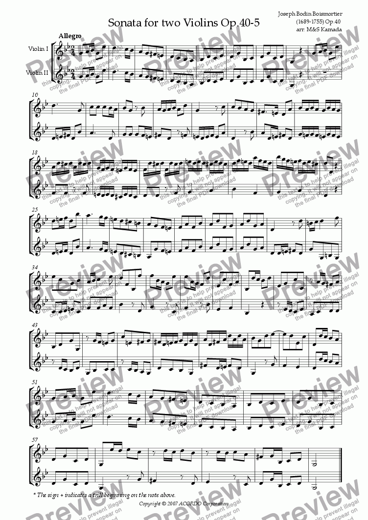 page one of Sonata (Duet) for two Violins Op.40-5