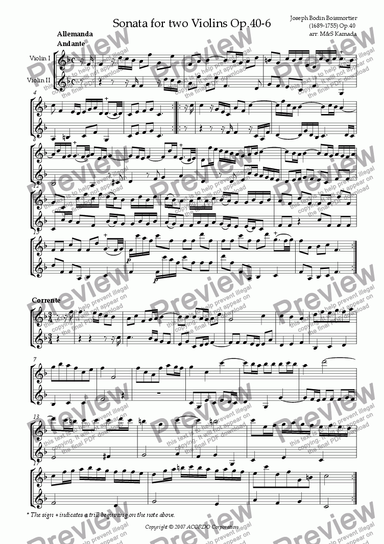 page one of Sonata (Duet) for two Violins Op.40-6