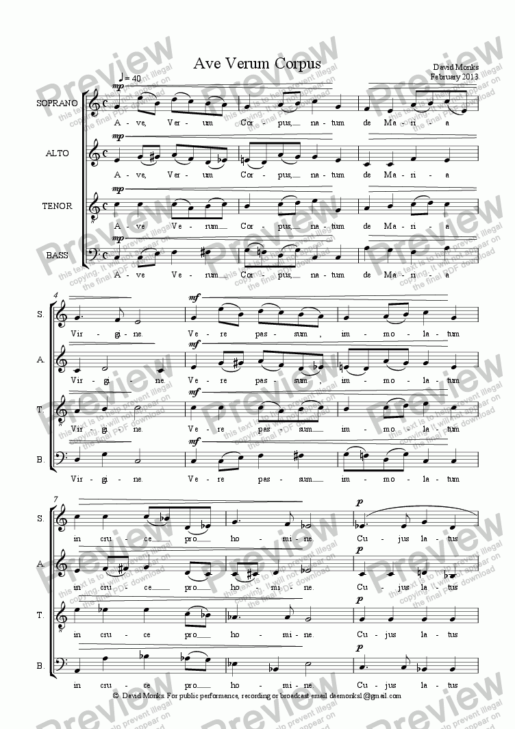 page one of Ave Verum Corpus