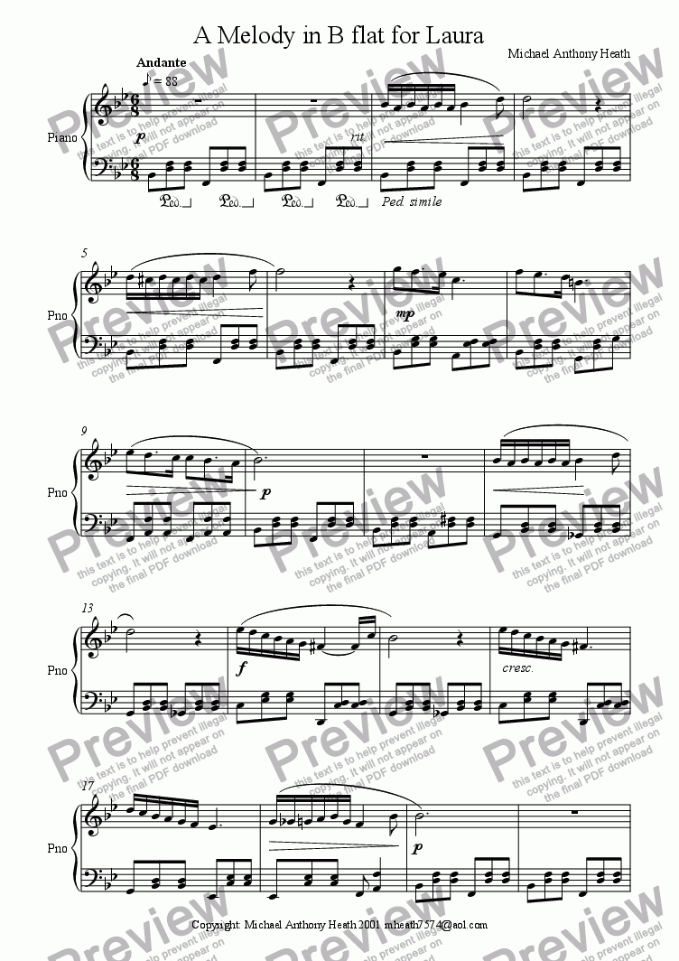 page one of A Melody in B flat for Laura