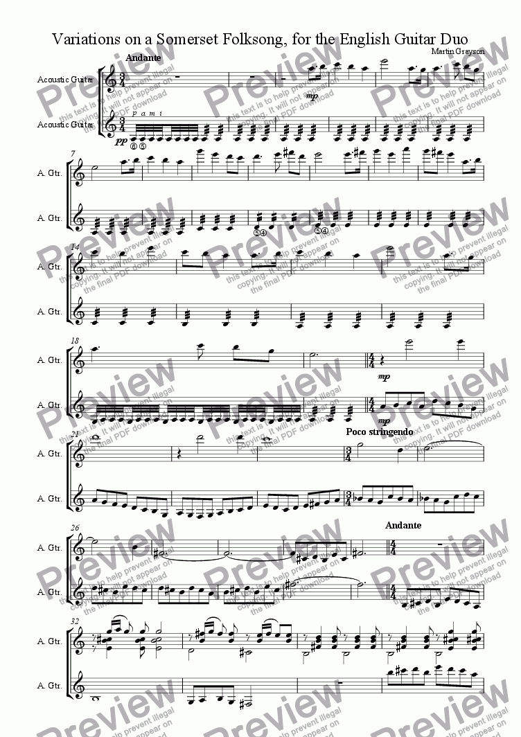 page one of Variations on a Somerset Folksong, for Two Guitars
