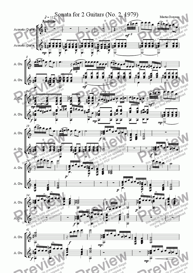 page one of 2 Sonatas for Guitar Duet (1979)ASALTTEXT