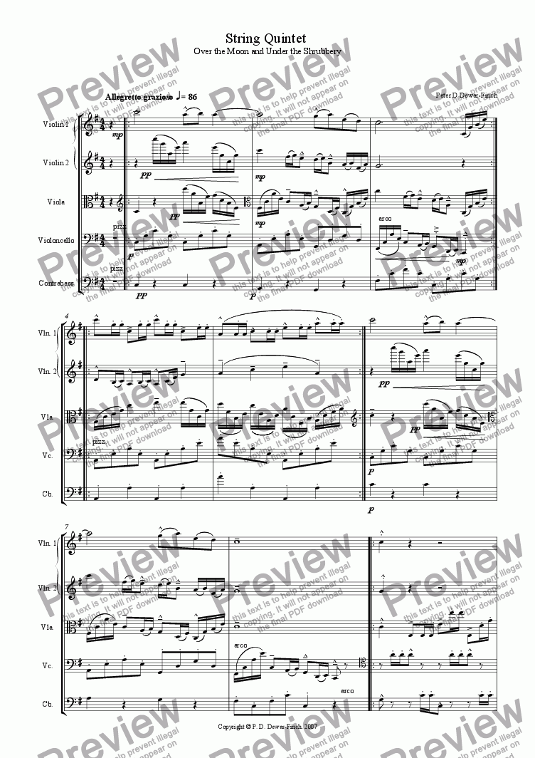 page one of String Quintet in G