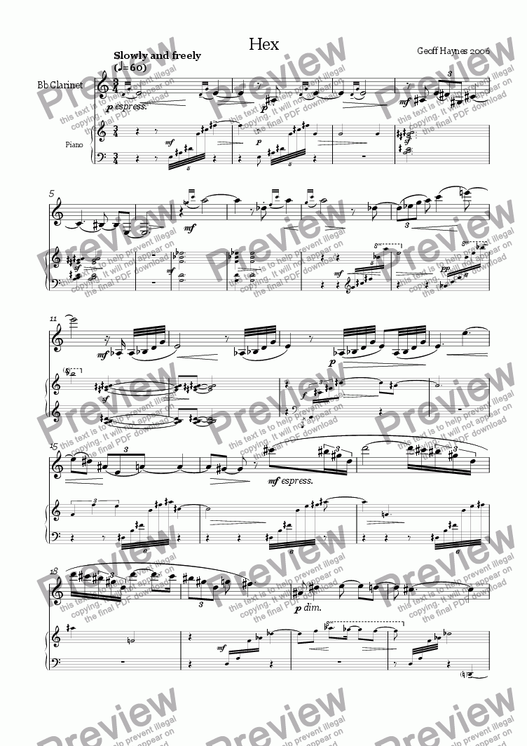 page one of Hex (for clarinet and piano)