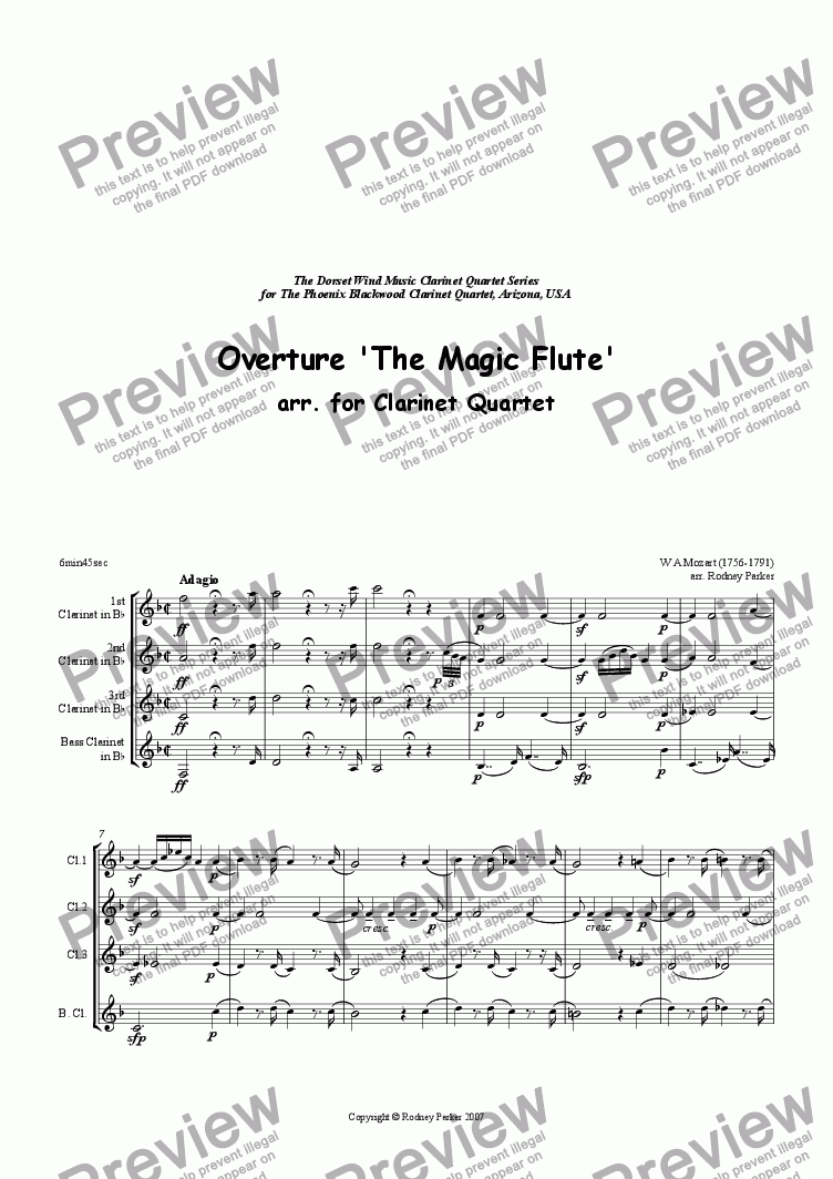 page one of Overture 'The Magic Flute' arr for Clarinet Quartet