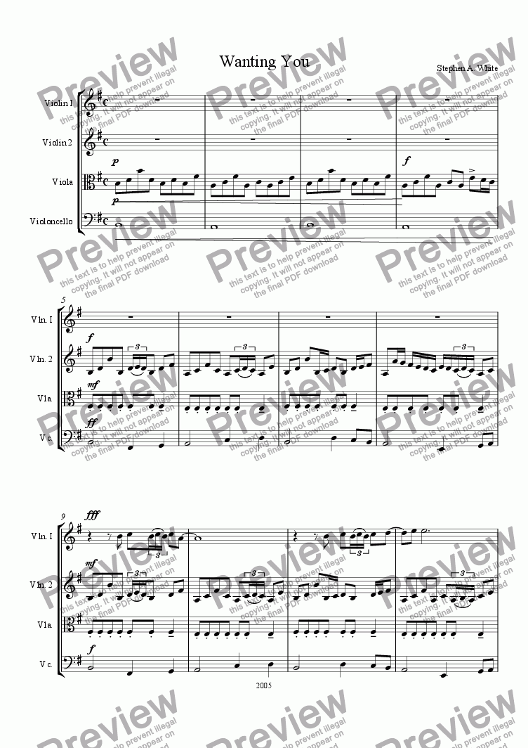 page one of Wanting You (String Quartet)