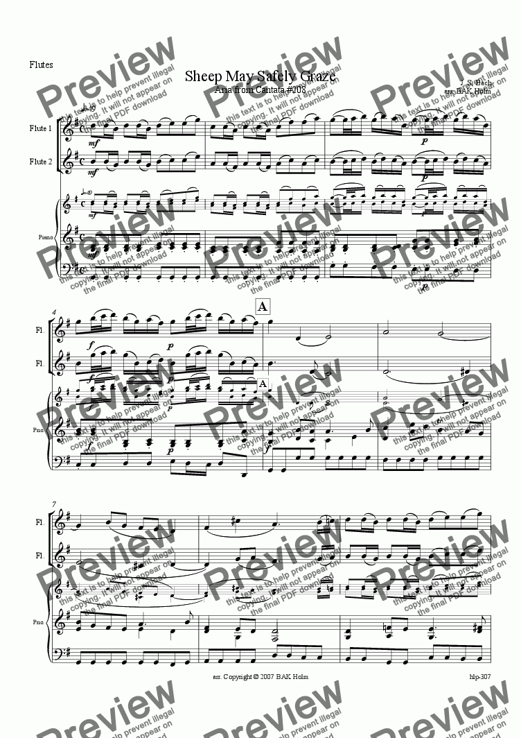 page one of Sheep May Safely Graze (2 flutes and piano)