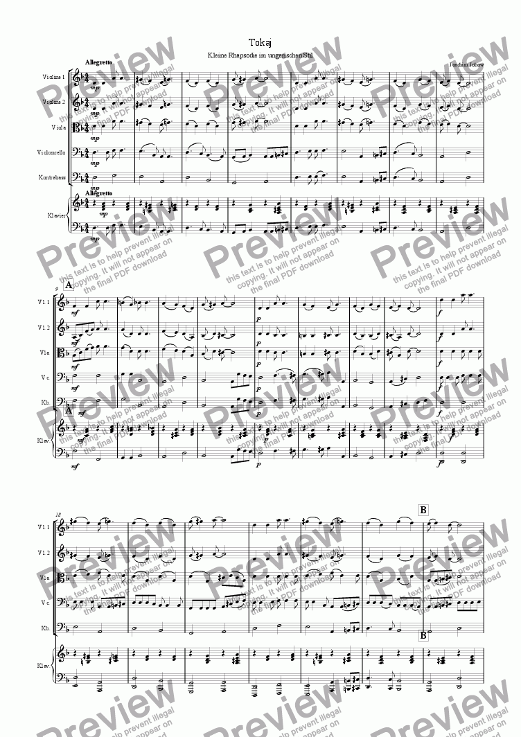 page one of Tokaj (Strings and Piano)