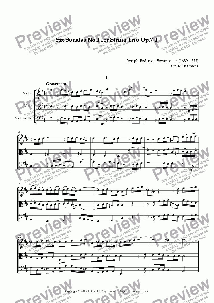 page one of Six Sonatas No.1 for String Trio Op.7-1
