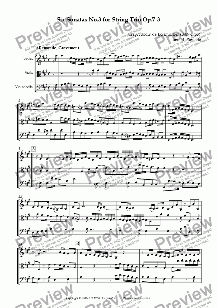 page one of Six Sonatas No.3 for String Trio Op.7-3