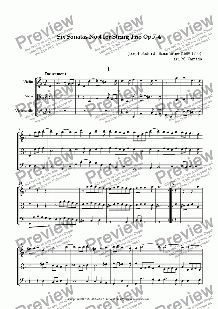 page one of Six Sonatas No.4 for String Trio Op.7-4