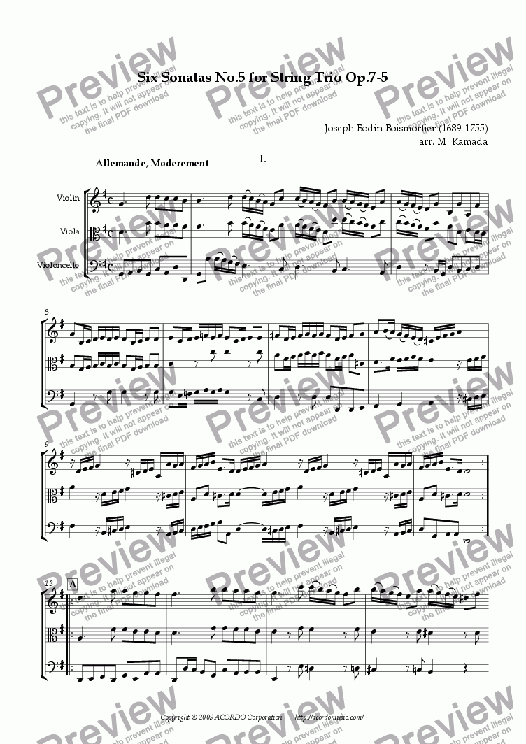 page one of Six Sonatas No.5 for String Trio Op.7-5ASALTTEXT