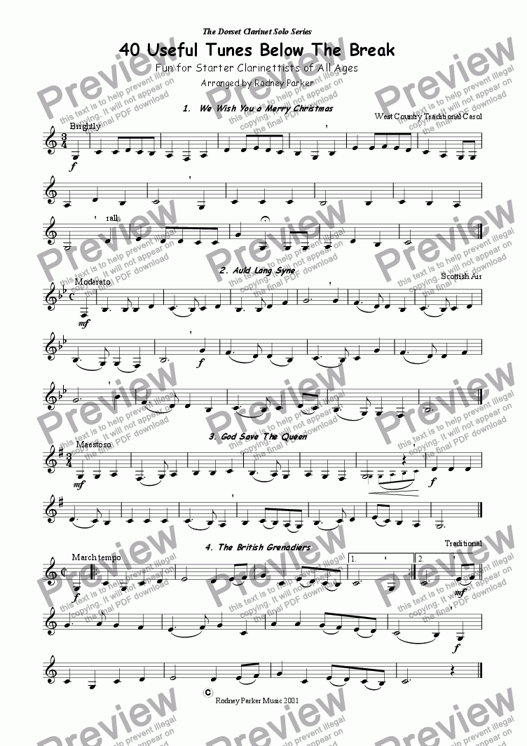 page one of 40 Useful Tunes for Bb Clarinet Below The Break