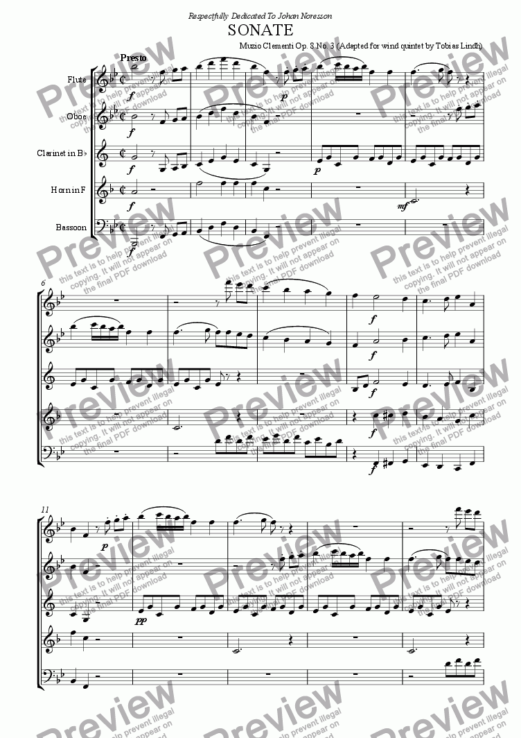 page one of Clementi Sonate