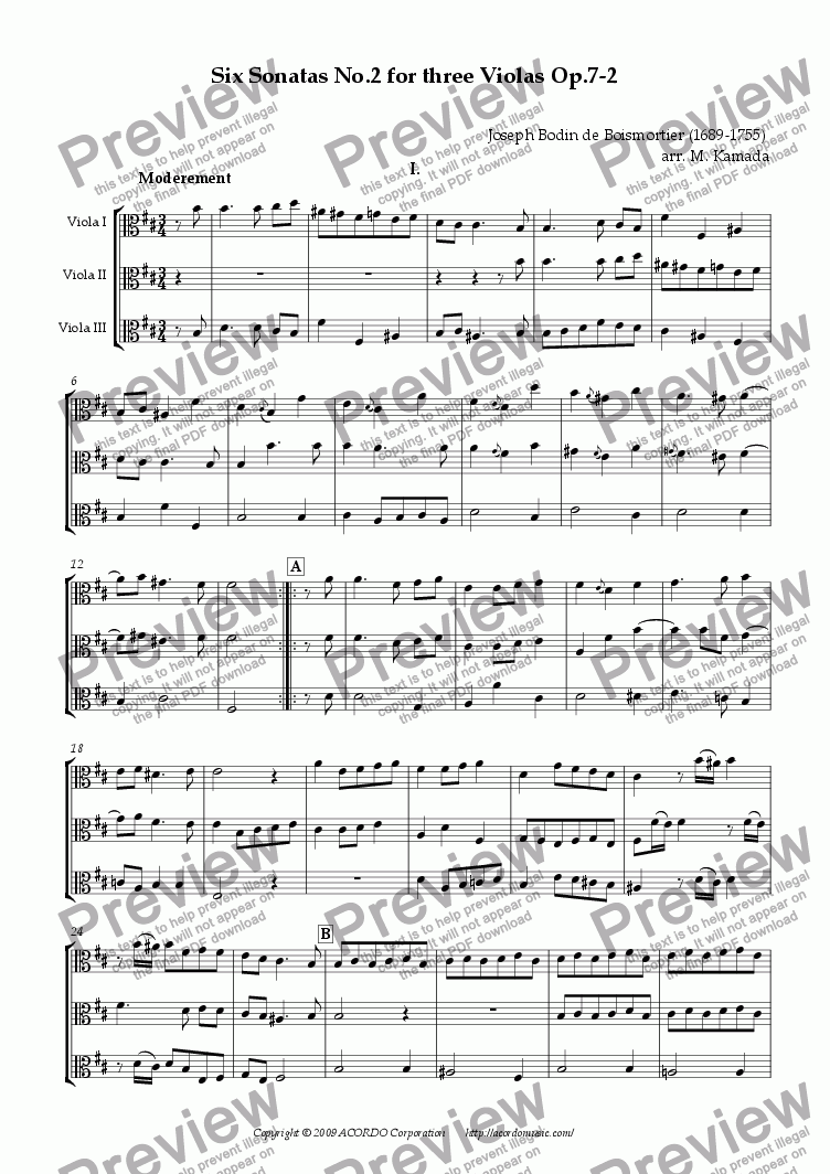 page one of Six Sonatas No.2 for three Violas Op.7-2