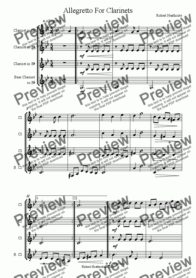 page one of Allegretto For Clarinets