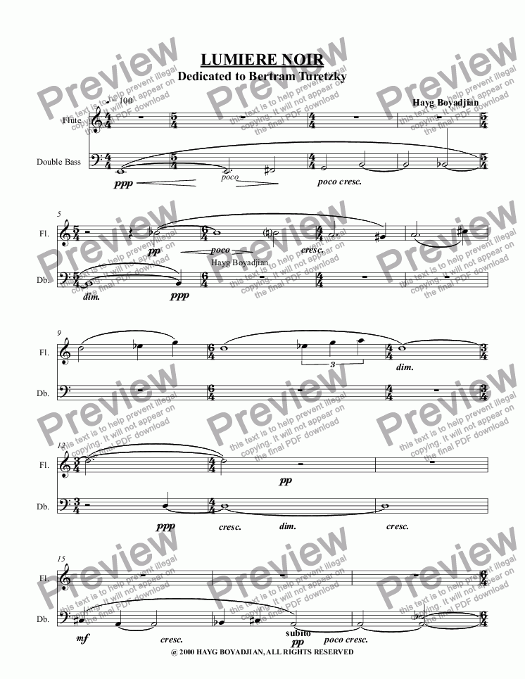 page one of Lumiere Noir (flute & double bass)