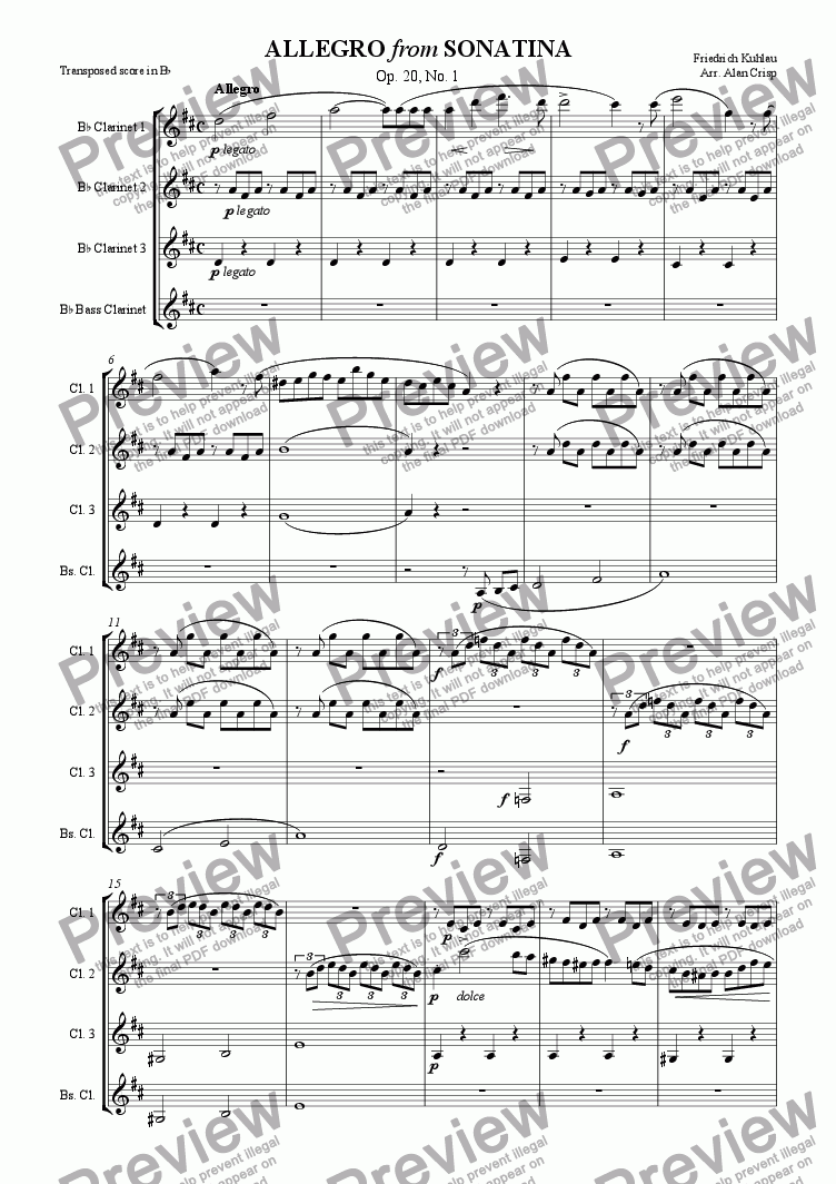 page one of Allegro from Sonatina (Op. 20, No. 1)