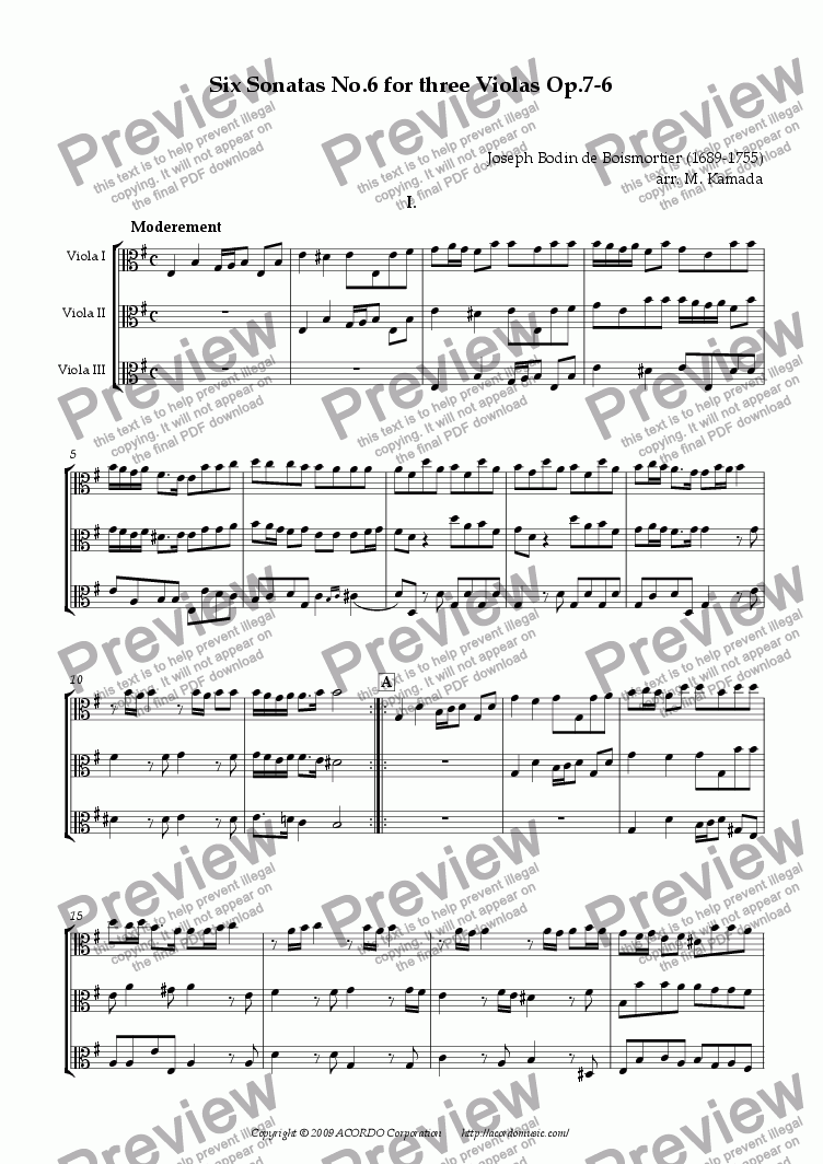 page one of Six Sonatas No.6 for three Violas Op.7-6ASALTTEXT