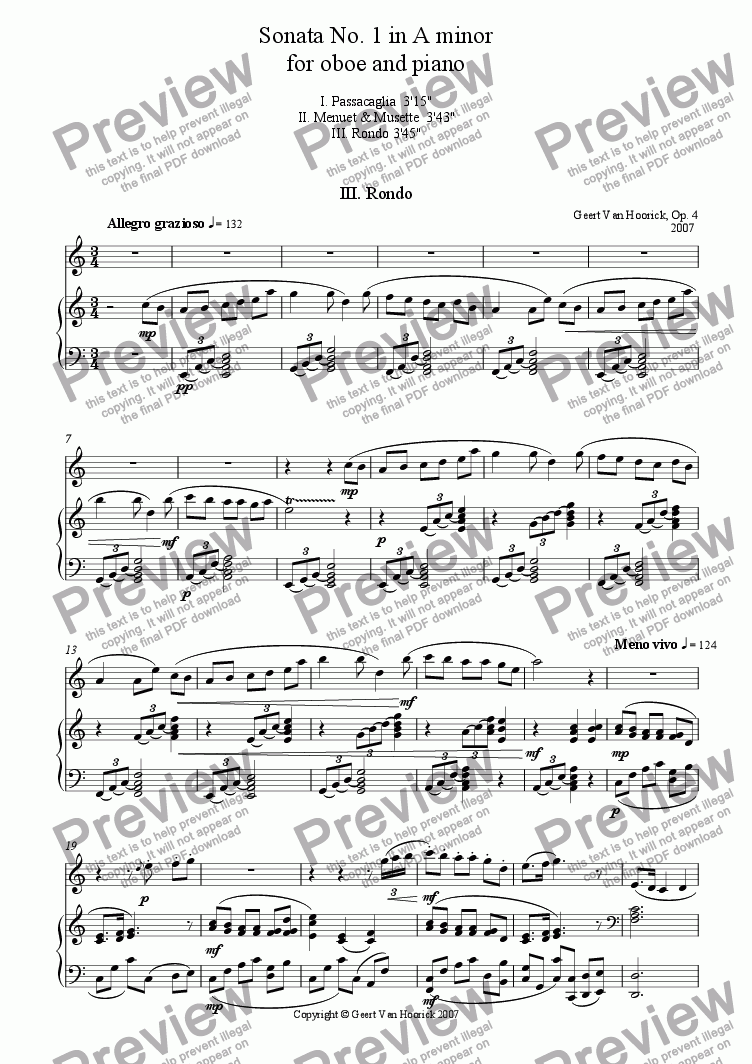 page one of Sonata No. 1 in A minor for oboe and piano, Op. 4 - III. Rondo