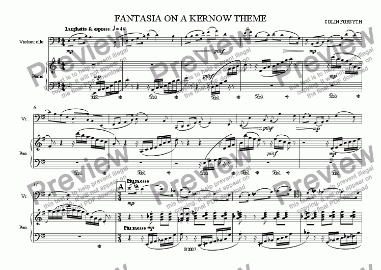 page one of 'Fantasia' on a Kernow theme (violoncello & piano)