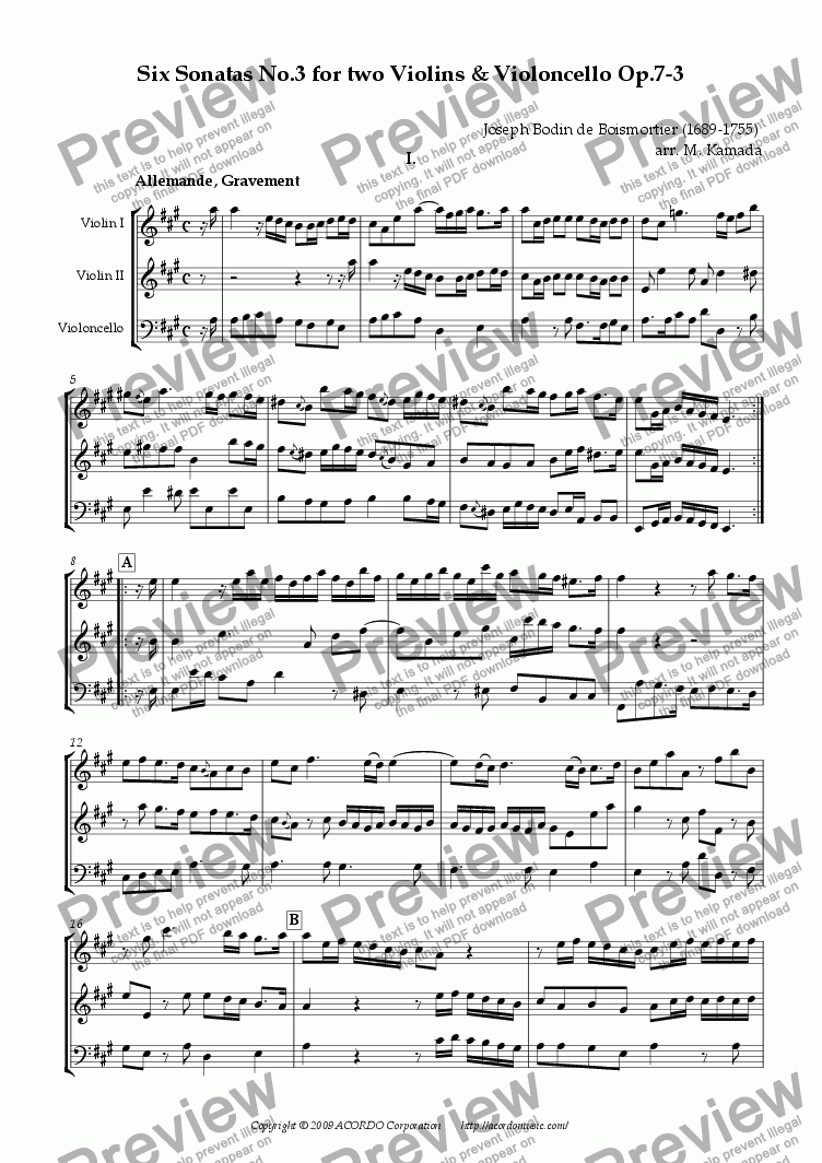 page one of Six Sonatas No.3 for two Violins & Cello Op.7-3
