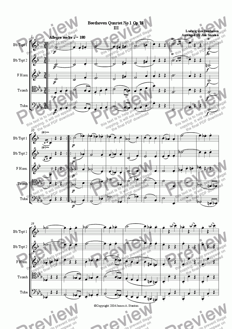 page one of Beethoven - Quartet No 1 Op 18 - Mvt 3 for Brass Quintet