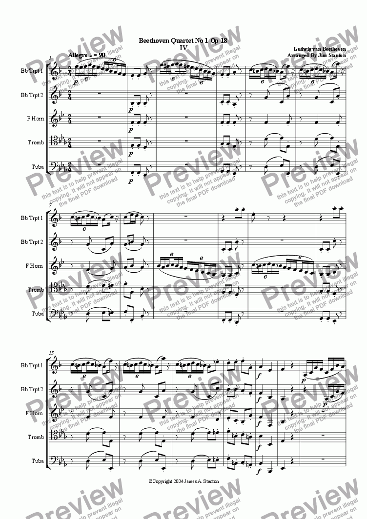 page one of Beethoven - Quartet No 1 Op 18 - Mvt 4 for Brass Quintet