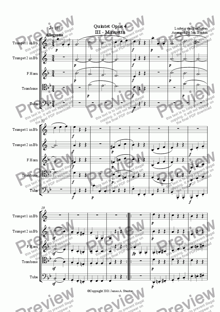 page one of Beethoven - Quintet Op 4 - Mvt 3 for Brass Quintet