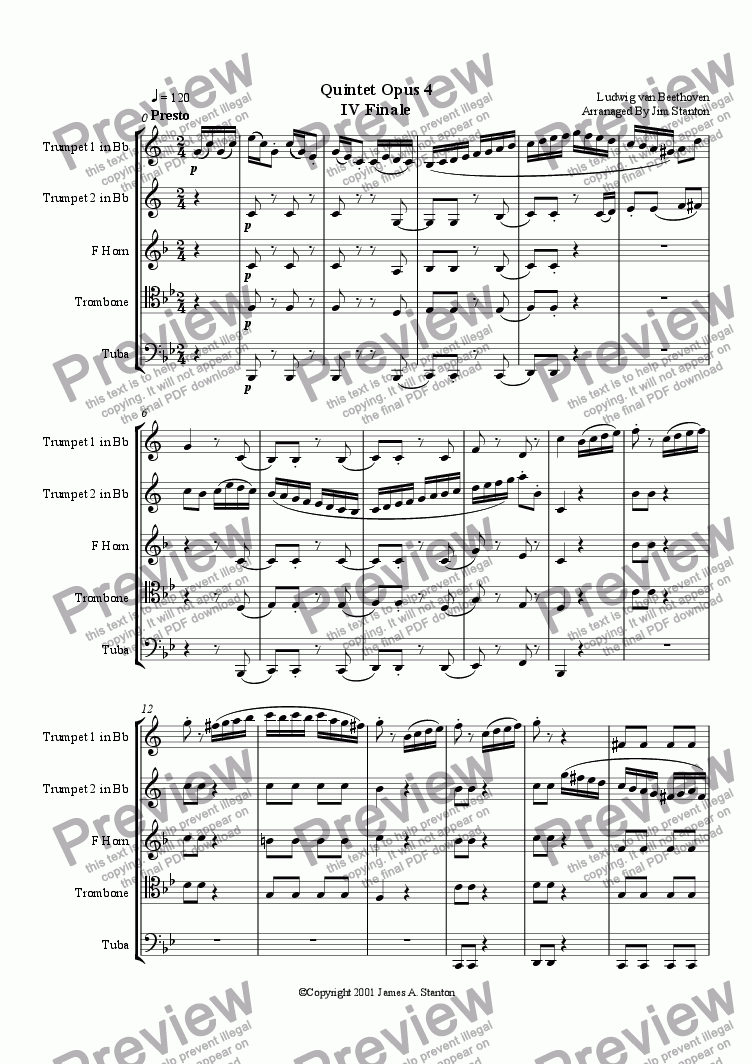 page one of Beethoven - Quintet Op 4 - Mvt 4 for Brass Quintet
