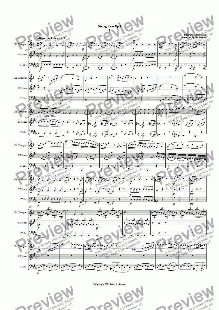 page one of Beethoven - String Trio Op 3 For Brass Trio