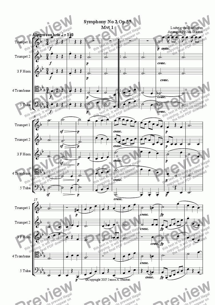 Beethoven - Symphony No 3 - Mvt 1 for Brass Quintet for Brass quintet by  Beethoven - Sheet Music PDF file to download
