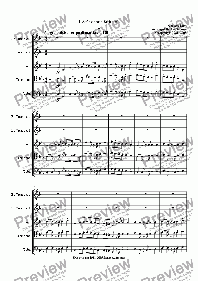 page one of Bizet - L'Arlesienne Suite No 1 - 4 Mvts for Brass Quintet