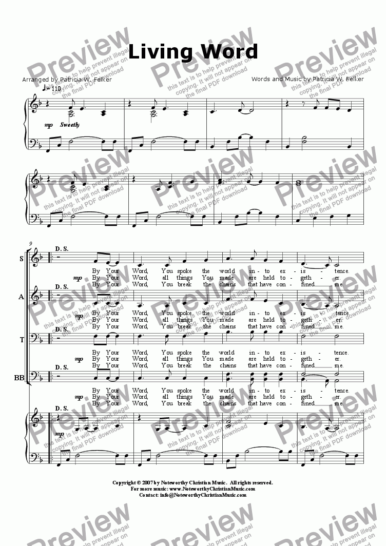 page one of Living Word (Choral arrangement)